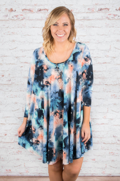 dress, three quarter sleeve, scoop neck, flowy, blue, pink, navy, white, tie die, comfy