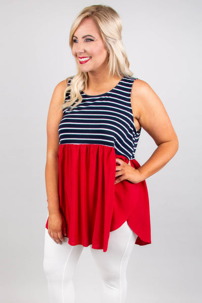 Chasing Sunlight Tank, Navy-Crimson
