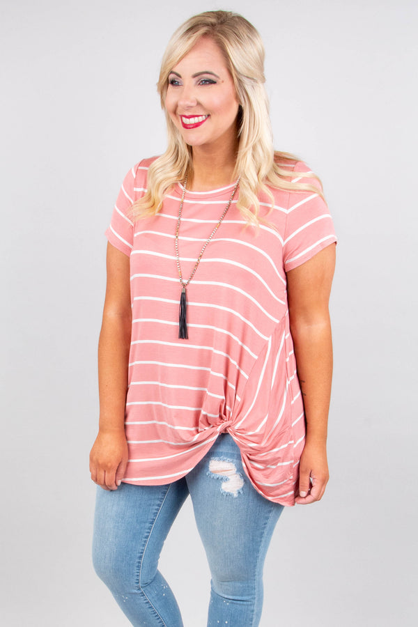 top, tunic, short sleeve, twist waist, mauve, ivory stripe