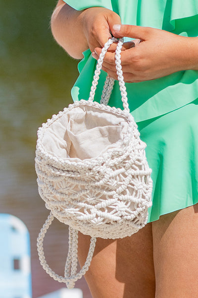 bag, backpack, ivory, macrame, braided straps, spring, summer, circular, small