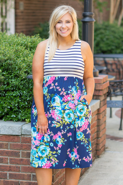 Far From Over Dress, Navy