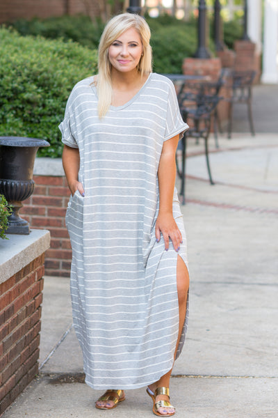 Show Your Stripes Maxi Dress, Heather Gray