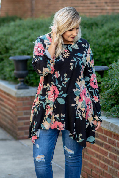 Flowers Are Forever Tunic, Black