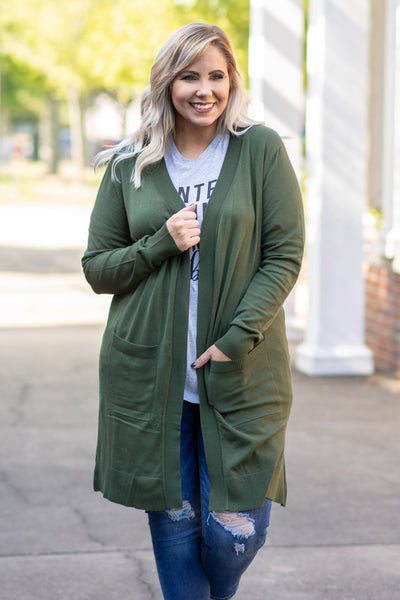 Made My Day Cardigan, Army Green