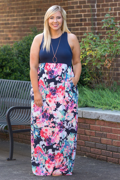 Swooning Over You Maxi Dress, Navy