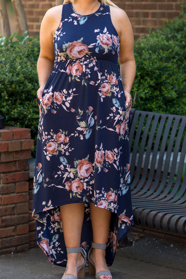 At First Floral Maxi Dress, Navy