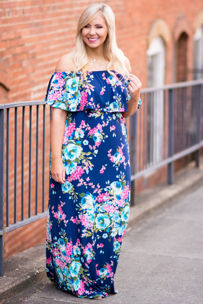 Flirty And Fun Maxi Dress, Navy