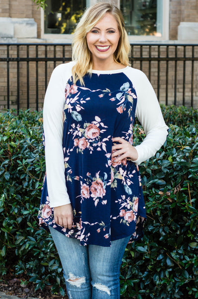 Floral Reality Tunic, Navy