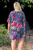 dress, three quarter sleeve, black, striped, ivory, floral, pink, short