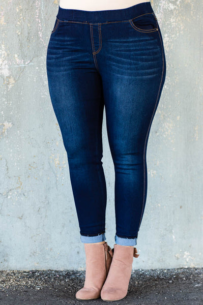 jeggings, dark blue, faded, long, skinny