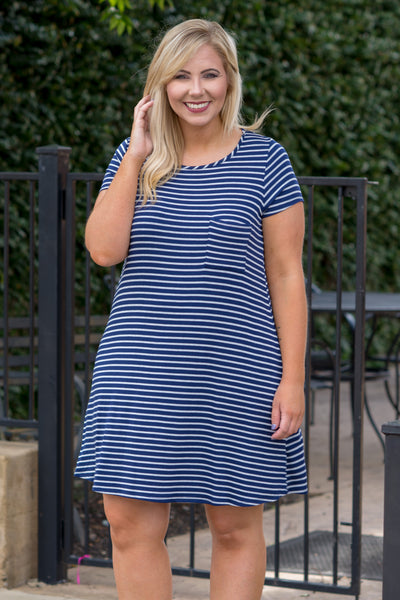 Luck On My Side Dress, Ivory-Navy