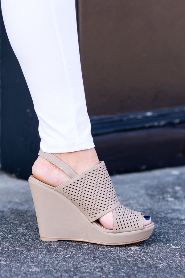Out and About Wedges, Taupe