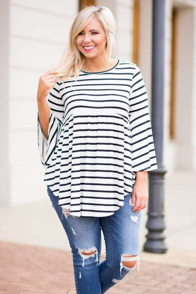 Easy Way Out Tunic, Ivory-Black