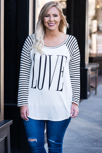 All You Need Is Love Top, Ivory-Black