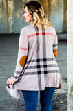 cardigan, long sleeve, elbow patches, long, asymmetrical hem, flowy, gray, black, red, plaid, comfy, thin