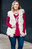 vest, tassels, fuzzy, white, outerwear, comfy, fall, winter
