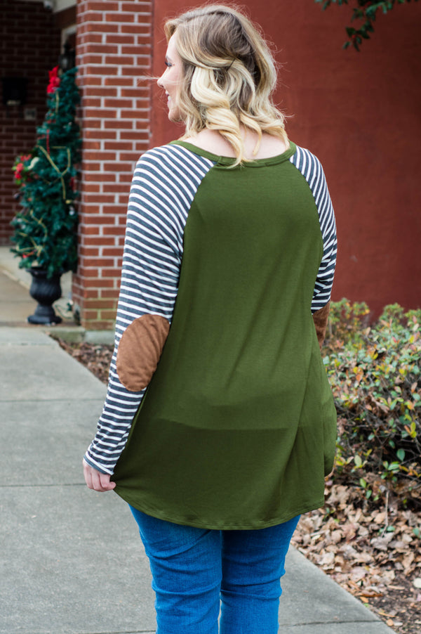shirt, long sleeve, elbow patches, long, flowy, curved hem, olive, striped sleeves, charcoal, white, comfy, fall, winter