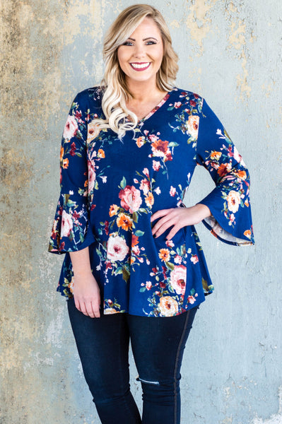 blouse, three quarter sleeve, vneck, bell sleeves, peplum, navy, floral, red, white, green, orange, comfy, flowy