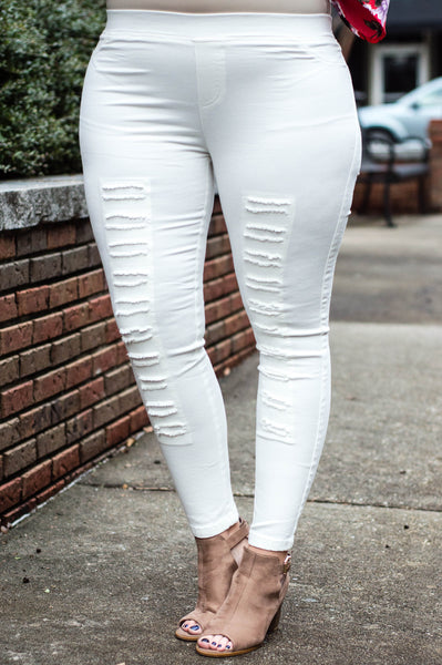 Tougher Than Most Jeggings, Cream
