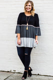 tunic, three quarter sleeve, long, babydoll, pompoms, black, charcoal, gray, colorblock, comfy, flowy
