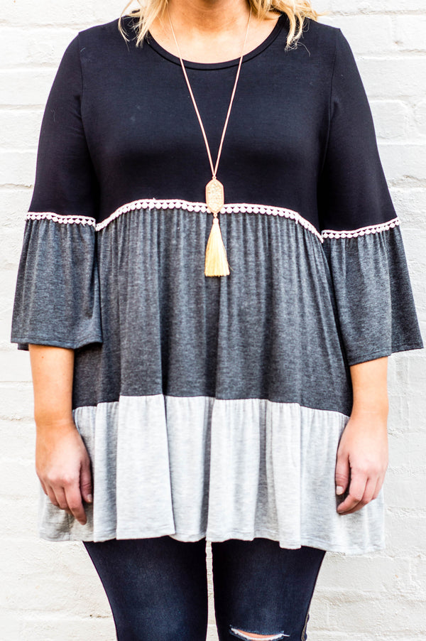Enjoy The Journey Tunic, Black-Grey