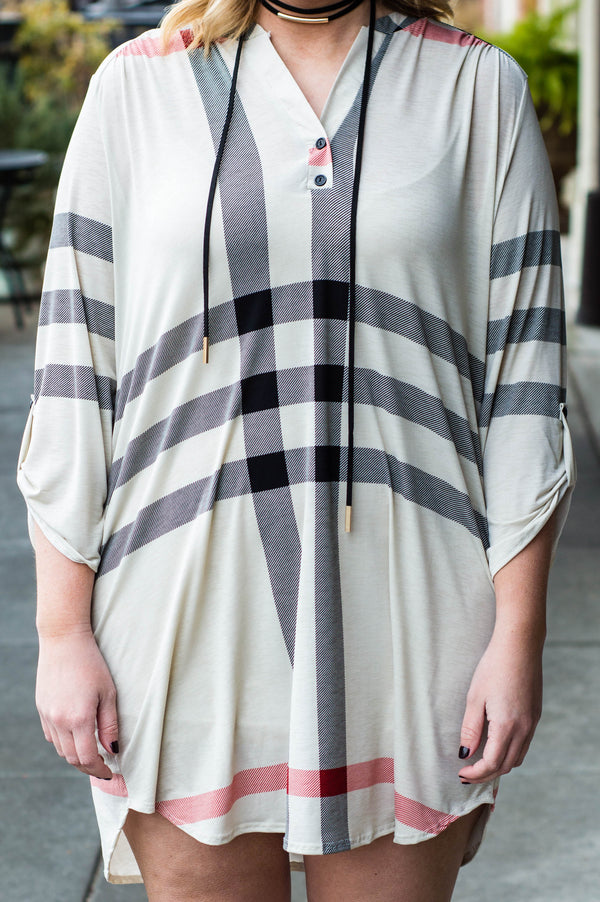 dress, short, three quarter sleeve, vneck, buttons, buttoned cuffs, curved hem, longer back, flowy, white, black, red, plaid, comfy