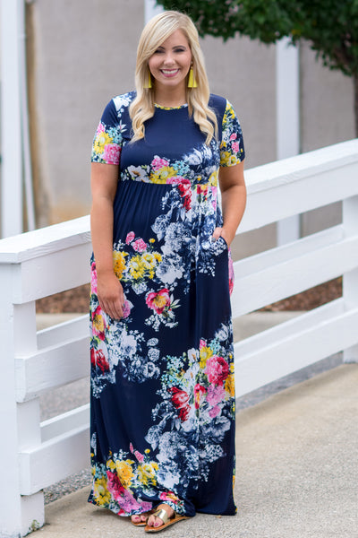 Hidden Gardens Maxi Dress, Navy