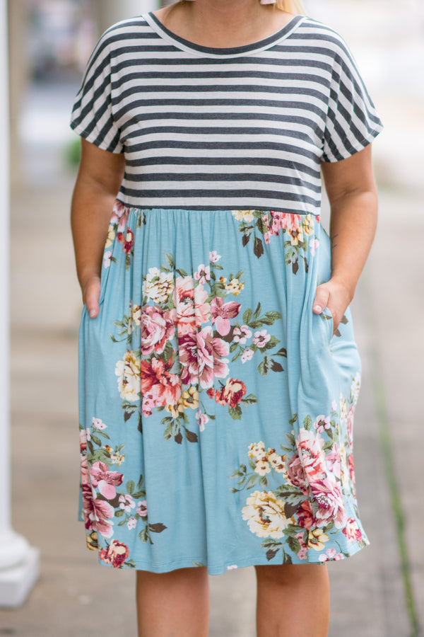 dress, short, short sleeve, black and white stripe, pockets, blue, pink floral