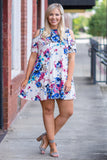 dress, off the shoulder, cold shoulder, short, spring, summer, floral, ivory, magenta, blue, loose, comfy