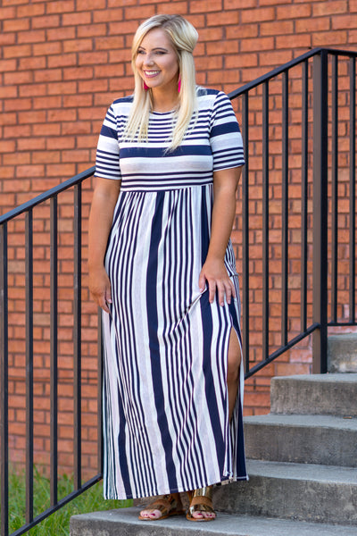 dress, maxi, short sleeve, leg slit, stripe, navy , ivory
