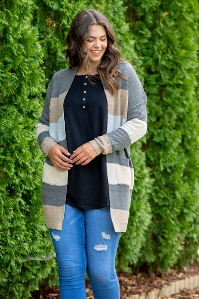 No Brainer Cardigan, Gray-Taupe