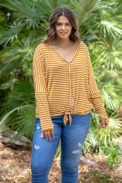 Don't Think Twice Top, Mustard-Ivory