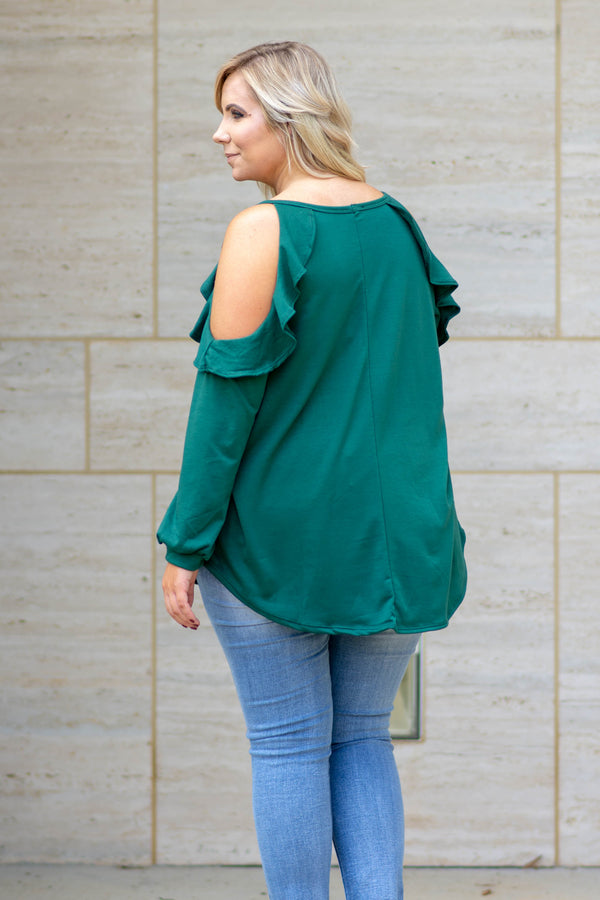 shirt, long sleeve, cold shoulder, ruffle shoulder, curved hem, bubble sleeves, flowy, green, comfy