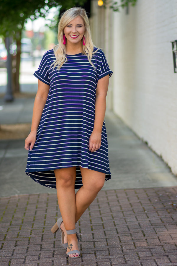 dress, short, short sleeve, high low, crisscross back, flowy, navy, white, striped, comfy