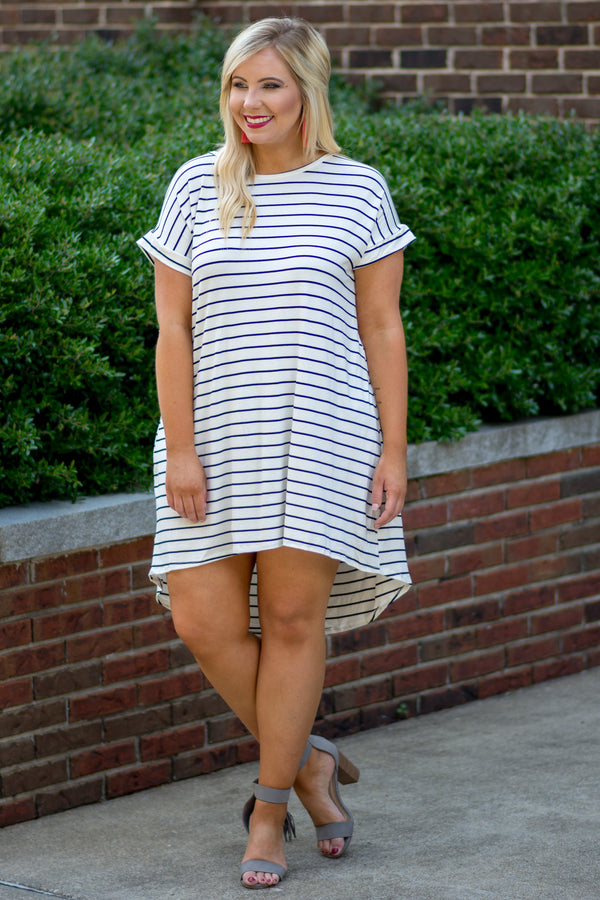 dress, short, short sleeve, cuffed, longer back, curved hem, flowy, white, black, striped, comfy, crisscross back, summer, spring