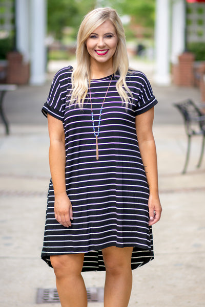 dress, mini dress, stripe, short sleeve, high low, navy, white