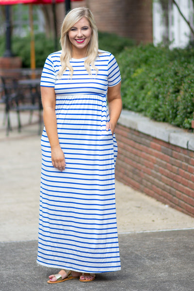 dress, maxi, short sleeve, fitted top, pockets, flowy skirt, white, blue, striped, comfy