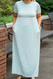 dress, maxi, short sleeve, fitted top, pockets, flowy skirt, white, mint, striped, comfy