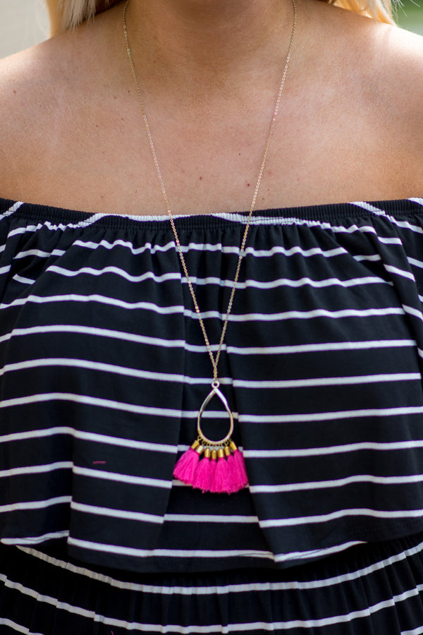 Can't Stop Me Necklace, Fuchsia