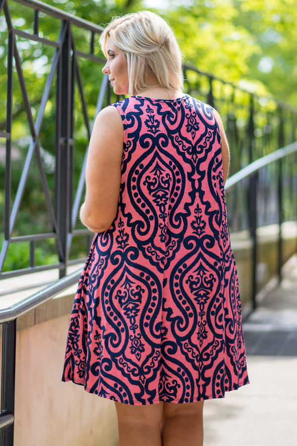 Come Back For You Dress, Coral-Navy