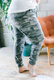 pants, joggers, drawstring waist, pockets, long, comfy, green, camo