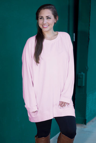 Slouchy Dolman Tunic Long Sleeve, Rose Quartz