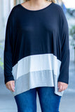 top, casual top, color block, white, grey, black, long sleeve, flowy