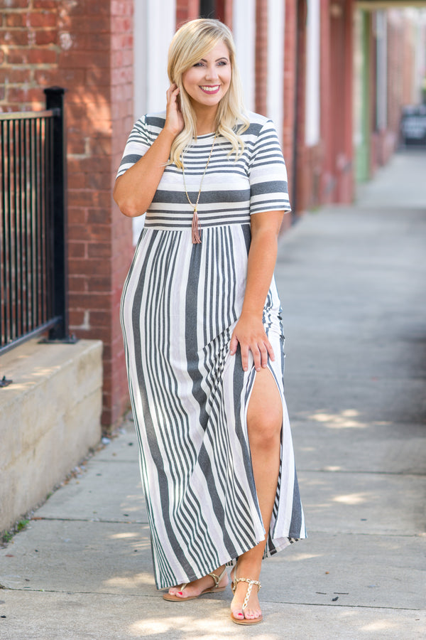 Stripe On Cue Maxi Dress, Charcoal