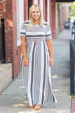 dress, maxii dress, long, short sleeve, cinched waistline, stripes , charcoal, white, side slit