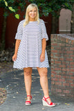 Stripe Up A Convo Dress, Ivory-Navy