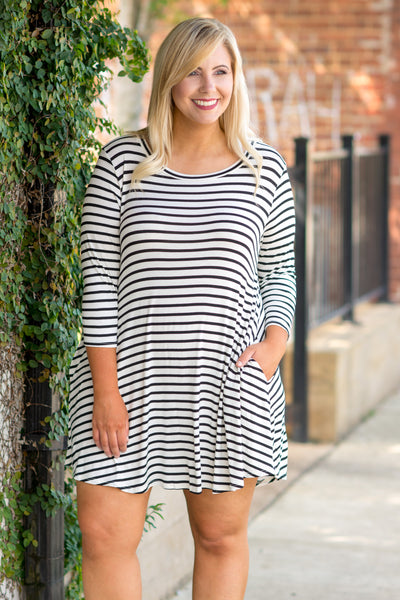 Sitting Dockside Dress, Ivory-Black