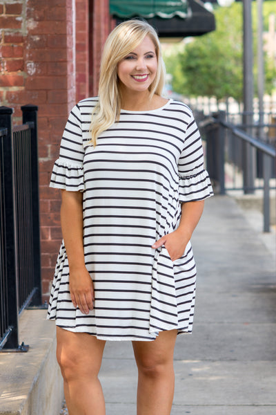 Stripe Up A Convo Dress, Ivory-Black