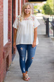 Gone Coastal Top, Cream