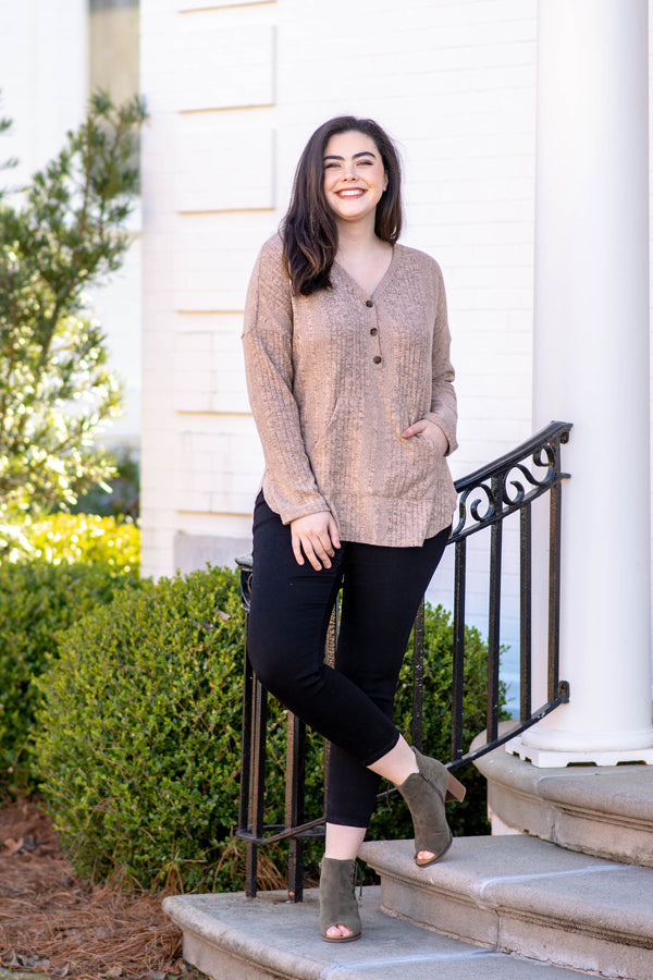 top, casual top, long sleeve, beige, button detail, curved hem